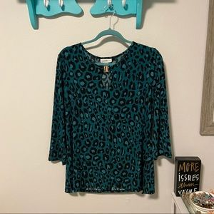Teal Leopard Print Top with 3/4 Sleeves